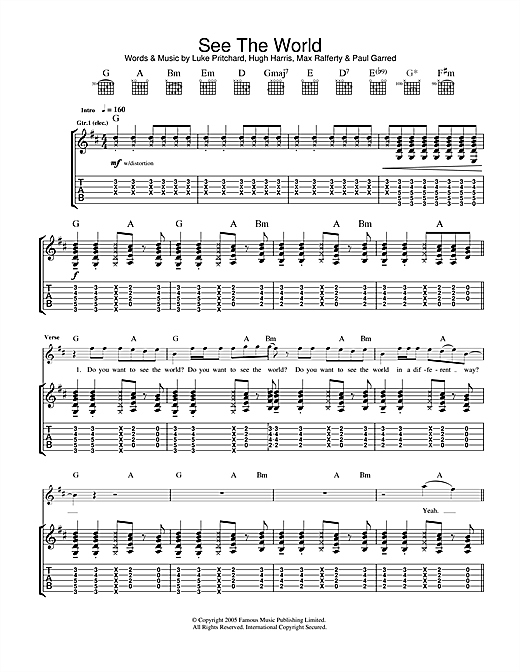 Tablature guitare See The World de The Kooks - Tablature Guitare