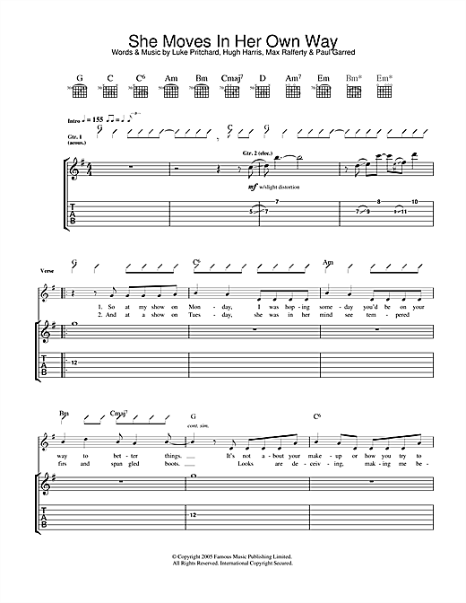 The Kooks She Moves In Her Own Way Sheet Music