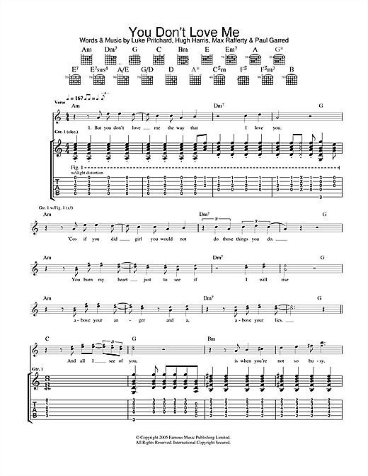 You Don\'t Love Me Guitar Tab by The Kooks (Guitar Tab – 35612)