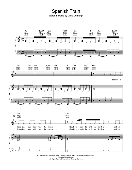 Spanish Train Sheet Music