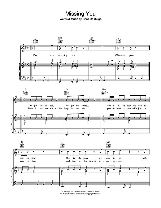 Missing You Sheet Music