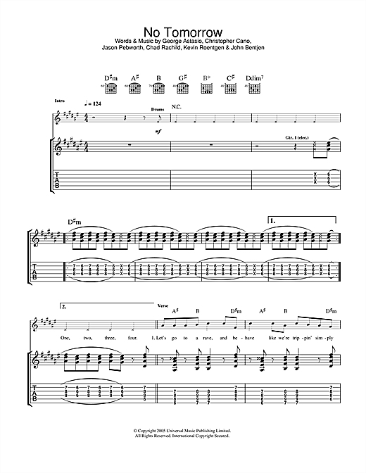 Tablature guitare No Tomorrow de Orson - Tablature Guitare