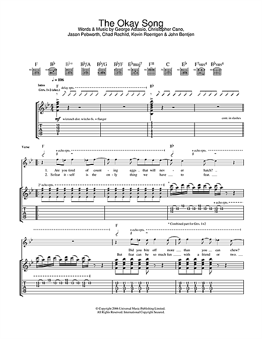 The Okay Song Sheet Music