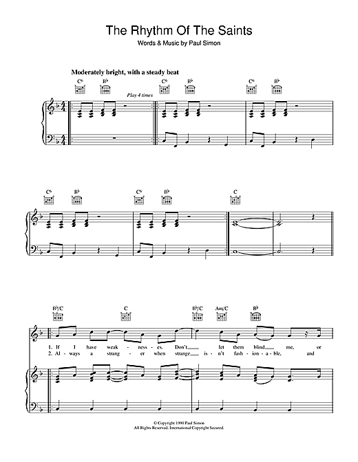 The Rhythm Of The Saints Sheet Music
