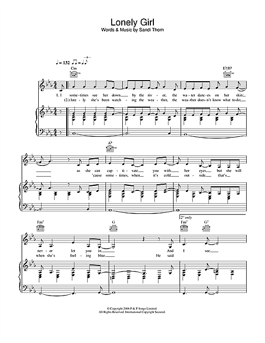 Lonely Girl Sheet Music