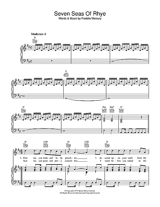 Seven Seas Of Rhye Sheet Music