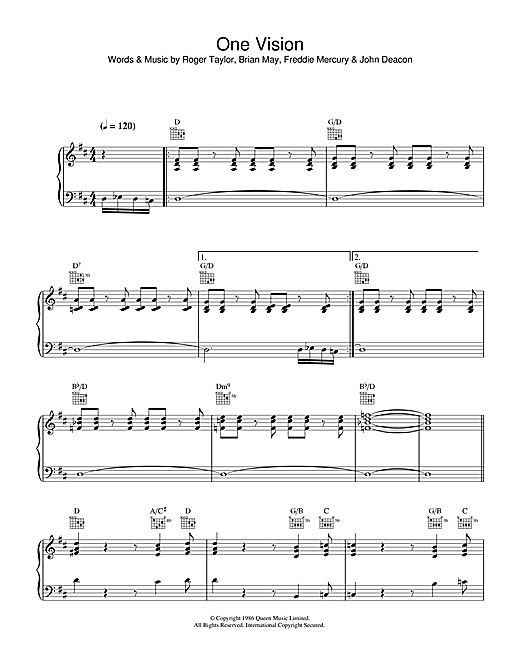 One Vision Sheet Music