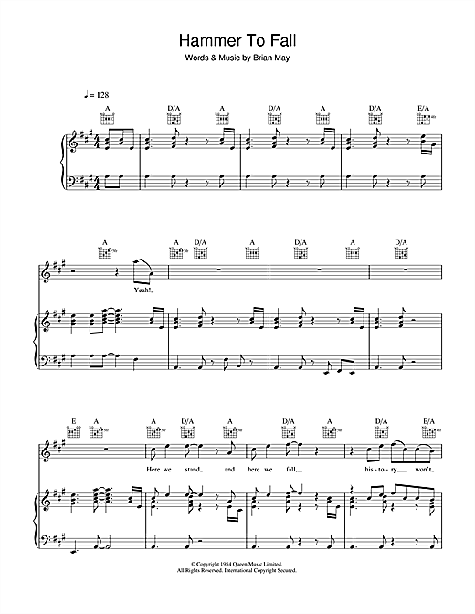 Hammer To Fall sheet music by Queen (Piano, Vocal u0026 Guitar (Right-Hand Melody) u2013 35809)