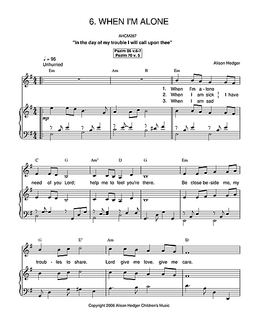 When I'm Alone Sheet Music