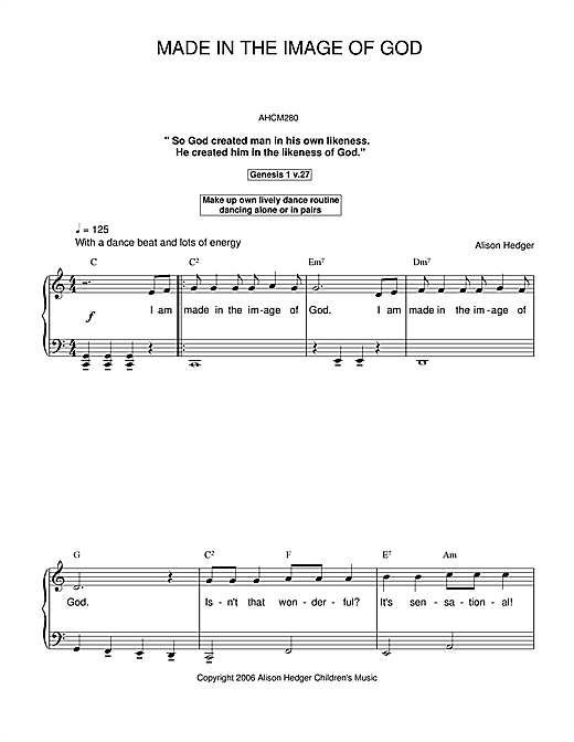 Made In The Image Of God Sheet Music
