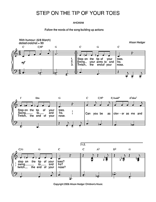 Step On The Tip Of Your Toes Sheet Music