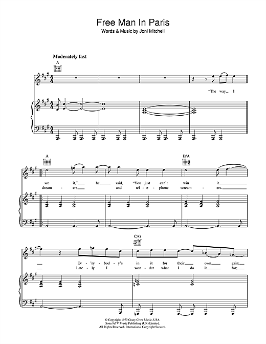 Free Man In Paris Sheet Music