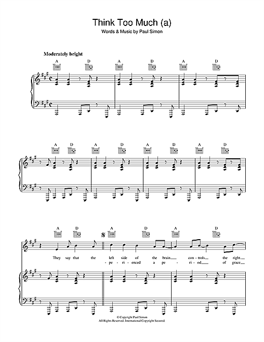 Think Too Much (a) Sheet Music
