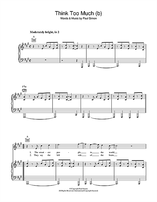 Think Too Much (b) Sheet Music