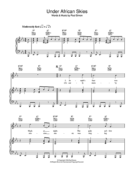 Under African Skies Sheet Music