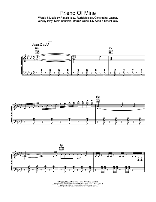 Friend Of Mine (Piano, Vocal & Guitar (Right-Hand Melody))