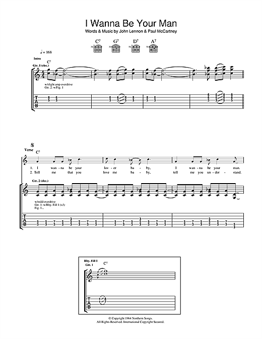 Tablature guitare I Wanna Be Your Man de The Beatles - Tablature Guitare