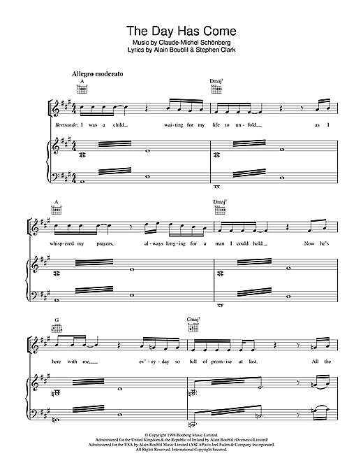 The Day Has Come (from Martin Guerre) Sheet Music