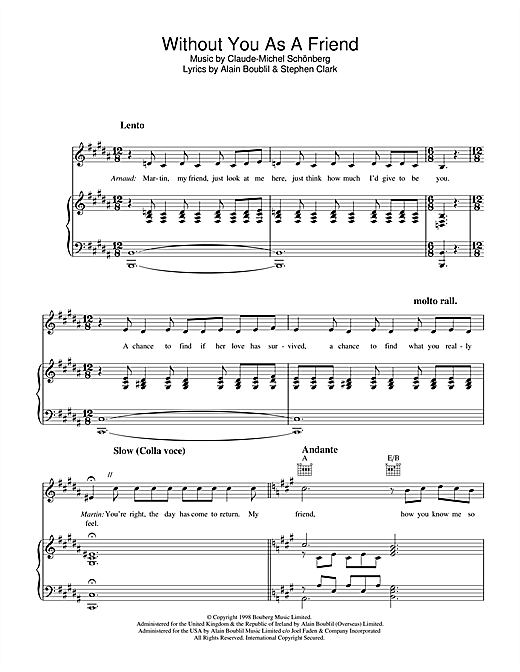 Without You As A Friend (from Martin Guerre) Sheet Music