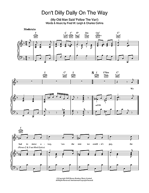 Don't Dilly Dally On The Way Sheet Music