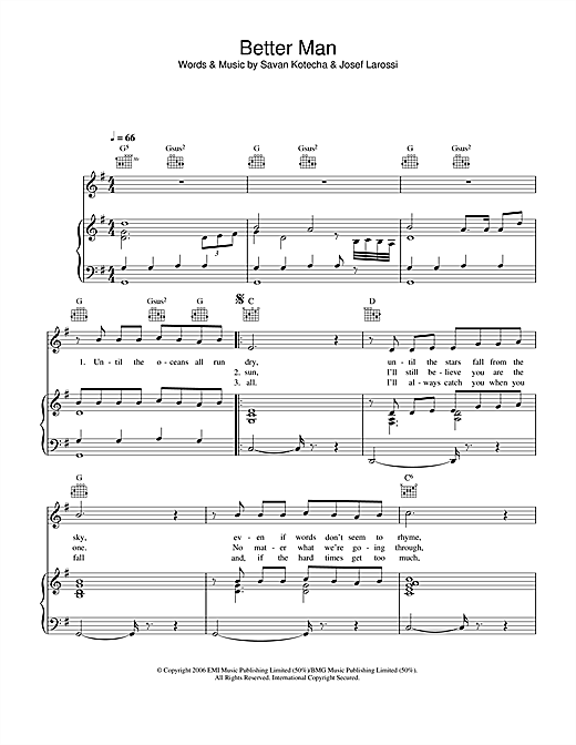 A Better Man (Piano, Vocal & Guitar (Right-Hand Melody))