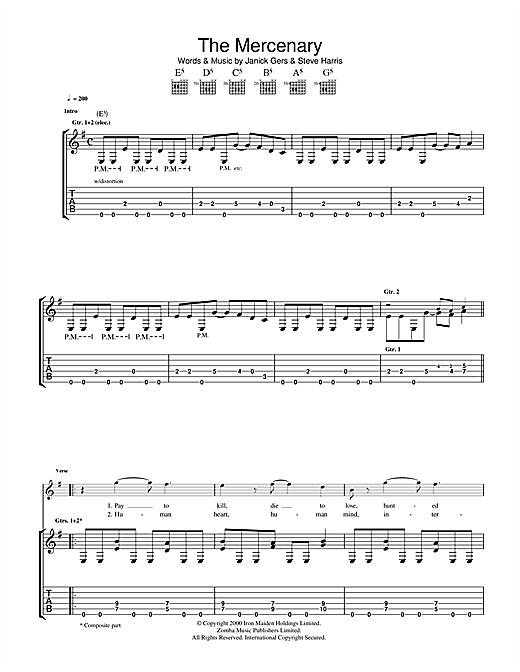 Tablature guitare The Mercenary de Iron Maiden - Tablature Guitare