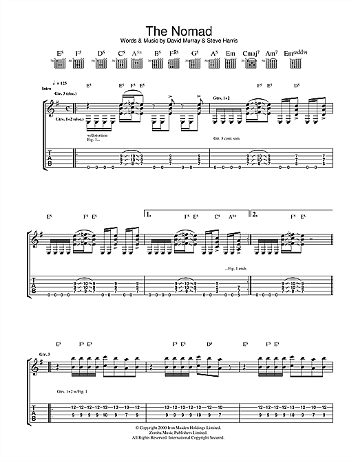 Tablature guitare The Nomad de Iron Maiden - Tablature Guitare