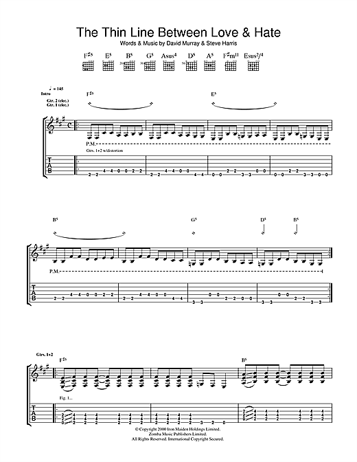The Thin Line Between Love And Hate (Guitar Tab)