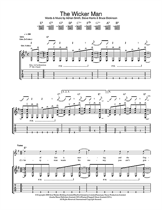 Tablature guitare The Wicker Man de Iron Maiden - Tablature Guitare