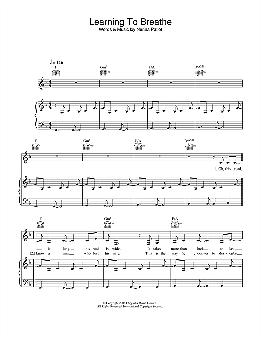 Learning To Breathe Sheet Music