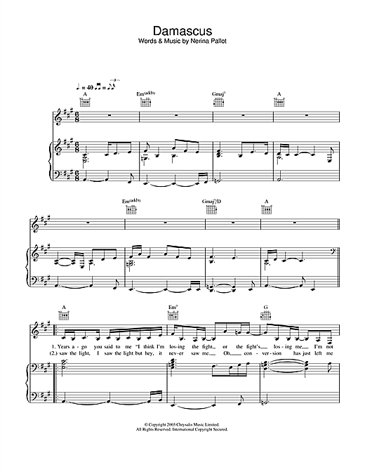 Damascus Sheet Music