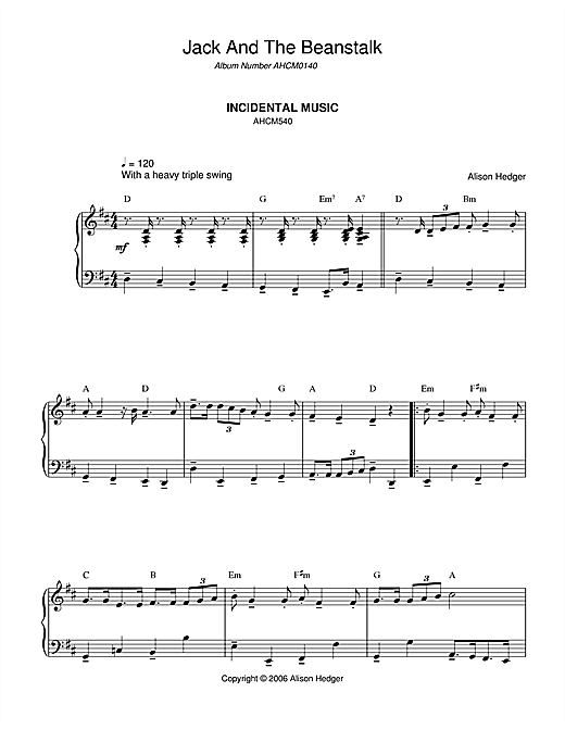 Partition piano Incidental Music (from Jack And The Beanstalk) de Alison Hedger - Piano Solo