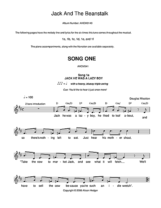Song 1 (from Jack And The Beanstalk) (Lead Sheet / Fake Book)