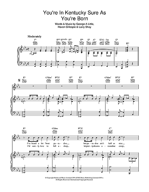 You're In Kentucky Sure As You're Born Sheet Music