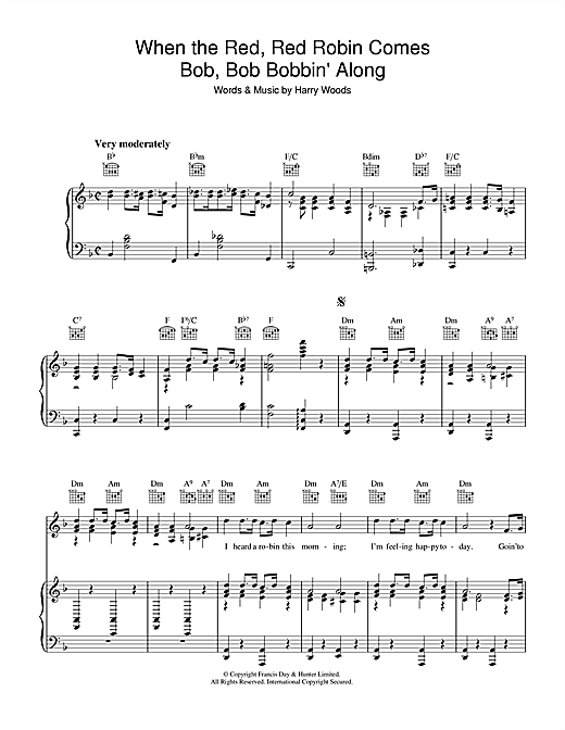 When The Red, Red Robin Comes Bob, Bob, Bobbin' Along Sheet Music