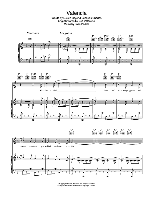 Valencia Sheet Music