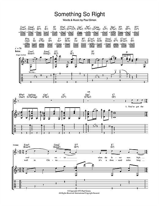Something So Right guitar tab by Paul Simon - Guitar Tab