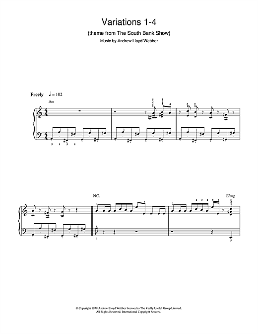 Partition piano Variations 1-4 (theme from The South Bank Show) de Andrew Lloyd Webber - Autre
