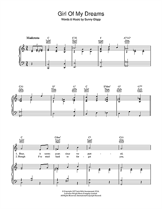 Girl Of My Dreams Sheet Music