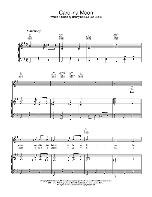 Carolina Moon Sheet Music
