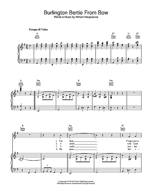 Partition piano Burlington Bertie From Bow de Will Hargreaves - Piano Voix Guitare (Mélodie Main Droite)