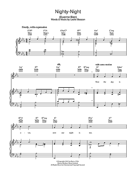 Nighty-Night (Duerme Bien) Sheet Music
