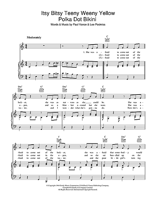 Itsy Bitsy Teenie Weenie Yellow Polka Dot Bikini Sheet Music