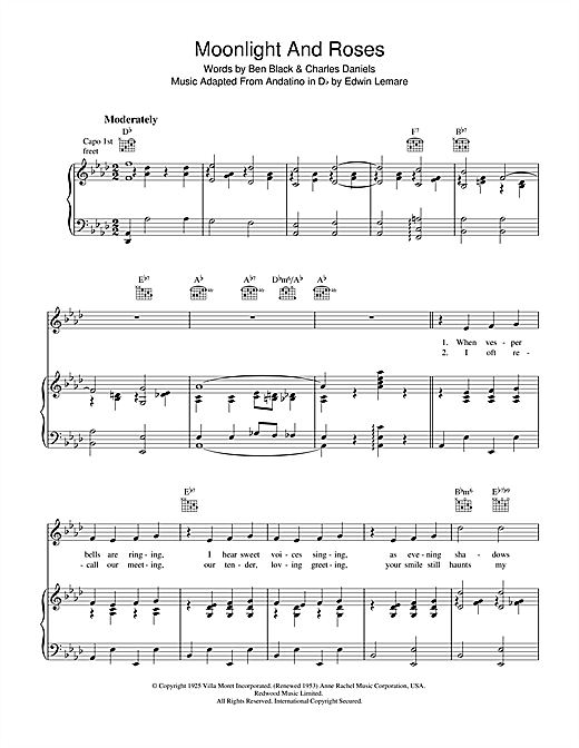Moonlight & Roses (Bring Mem'ries Of You) Sheet Music