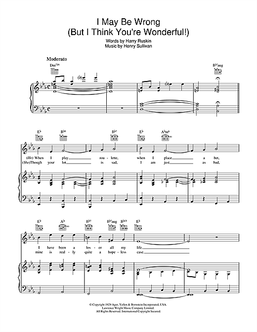 I May Be Wrong (But I Think You're Wonderful) Sheet Music