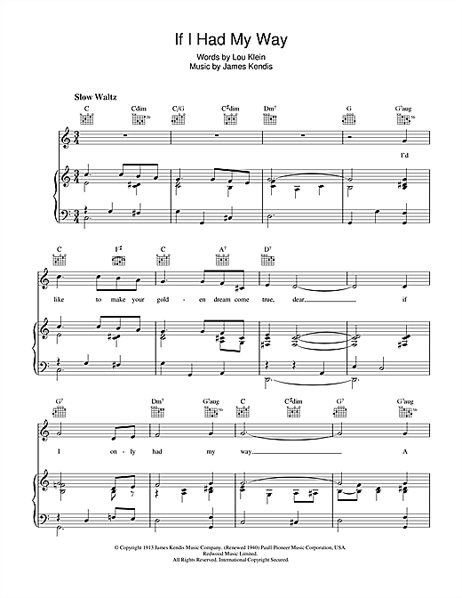 If I Had My Way Sheet Music