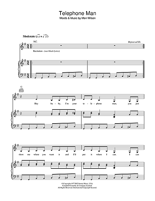 Telephone Man Sheet Music