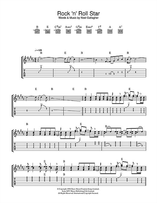 Tablature guitare Rock 'n' Roll Star de Oasis - Tablature Guitare