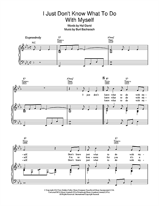 I Just Don't Know What To Do With Myself (Piano, Vocal & Guitar (Right-Hand Melody))