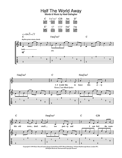 Half The World Away Guitar Tab By Oasis Guitar Tab 36376